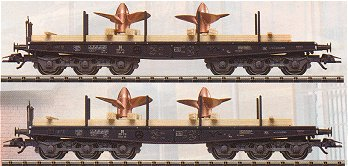 Consignment TR24027 - Trix 24027 - Type Ssym 46 Heavy-Duty Flat Car Set Loaded with Ships Propellers
