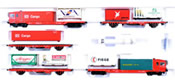 Trix German 5pc CargoSprinter Powered Freight Railcar Train Set