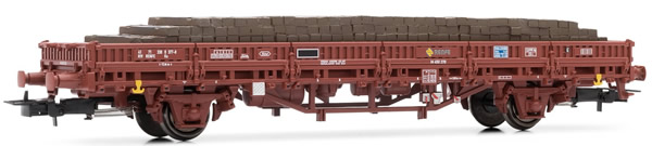 Electrotren E1463 - Low side wagon RENFE, type Ks, loaded with wood sleepers
