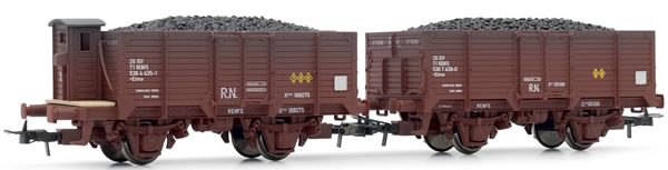 Electrotren E19011 - 2pc Wagon Set class X of R.N., weathered, with coal load