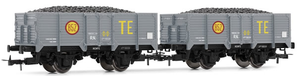 Electrotren E19021 - 2pc Unified High-sided Wagon TE Set, loaded with coal
