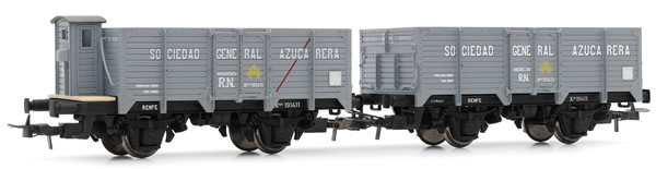 Electrotren E19023 - 2pc Unified High-sided Wagon Set Sociedad General Azucarera, one with brakemans cab