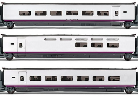 Electrotren E3520 - 3pc Additional Coach Set AVE S-100 of the RENFE