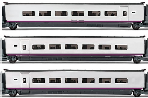 Electrotren E3521 - 3pc Additional Coach Set AVE S-100 of the RENFE