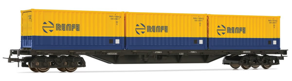 Electrotren E5176 - 4-axle flat wagon Rs type with 3 containers RENFE