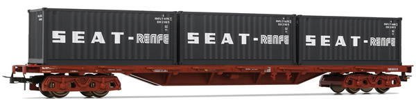 Electrotren E5177 - 4-axle flat wagon Rs type with 3 containers RENFE-SEAT