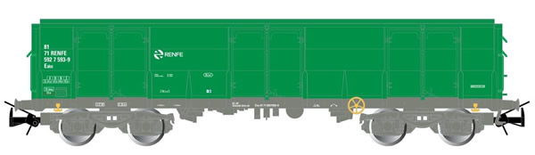 Electrotren E6541 - 4-axle open wagon Ealos type in green livery, loaded with logs
