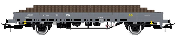 Electrotren E6543 - 2-axle stake wagon in grey livery, loaded with wooden sleepers