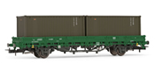 Low side wagon RENFE, type Ks, loaded with 2 military containers
