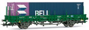 Low side wagon RENFE, type Ks, loaded with BELL container