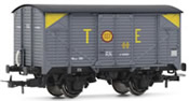 Wagon type J in grey livery TE with yellow corner markings