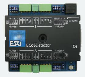 ESU 50094 - ECoSDetector feedback module, 16 dig. inputs, therefrom 4 RailCom® feedbacks. For 2-digit or 3-digit