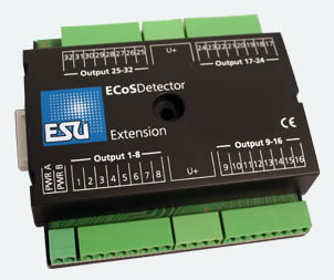 ESU 50095 - ECoSDetectior Extension. 32 digital outputs 100mA for little bulbs or LEDs, Ausleuchtung Gleisbildst