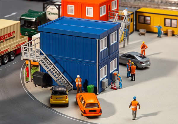 Faller 130134 - 4 Building site containers, blue