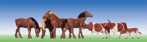Faller 154002 - Horses, brown-spotted cows