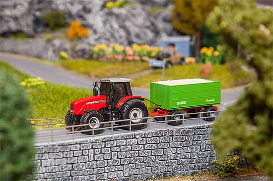Faller 161588 - MF Tractor with wood chips trailer (WIKING)
