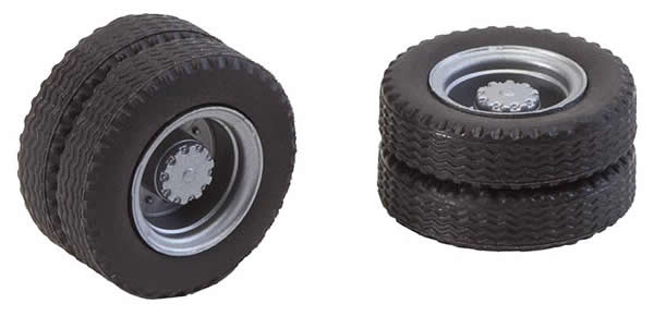 Faller 163101 - 2 wheels (twin tyres) tyres and lorry rims