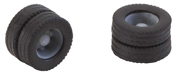 Faller 163111 - 2 wheels (twin tyres) tyres and rims for 7.5 t.