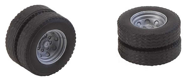 Faller 163112 - 2 wheels (twin tyres) tyres and rims for fire brigade