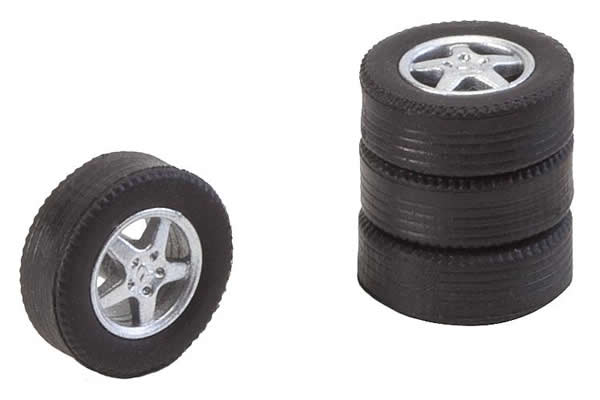 Faller 163114 - 4 tyres and rims for passenger cars large / tourist train