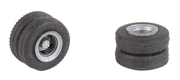 Faller 163117 - 2 wheels tyres and rims (Rear axle) for delivery trucks and bus