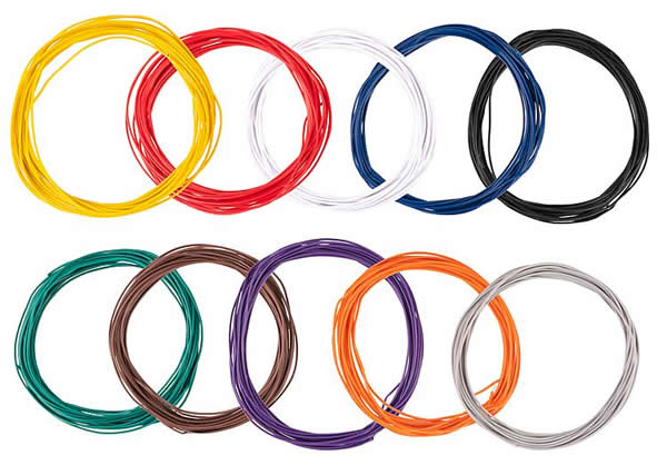 Faller 163780 - Assorted stranded wires 0.04 mm², 10 colours 10 m each