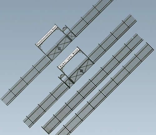 Faller 180412 - Iron fence with gate, 1046 mm