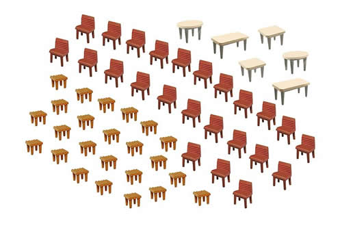 Faller 180438 - 7 Tables and 48 Chairs