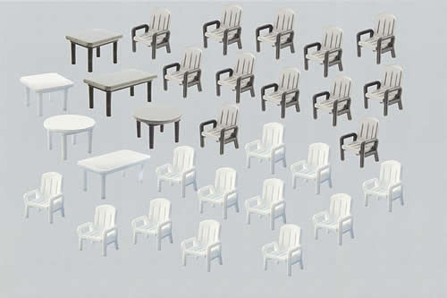 Faller 180439 - 24 Garden chairs and 6 Tables
