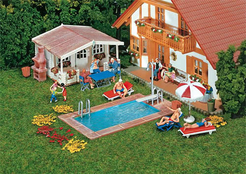 Faller 180542 - Swimming pool and utility shed