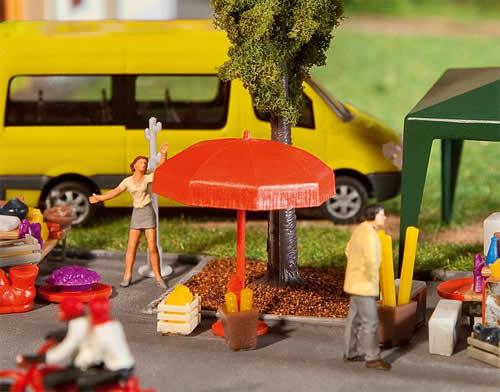 Faller 180910 - Sun umbrellas, tables, benches