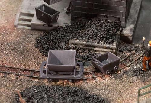 Faller 180916 - 2 Trolleys und 2 mining carts for H0e