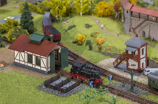 Faller 222108 - Branch line engine shed with block post Set
