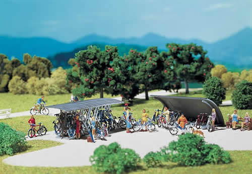 Faller 272535 - 2 Bicycles stands with bikes