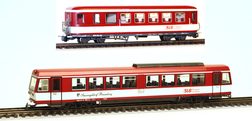 Ferro Train 9729-P - Austrian SLB Railcar with BD Trailer, ruby red