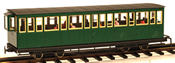 4 axle closed platform coach w/passengers, green