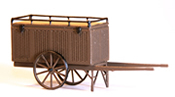 Closed 2-wheel hand cart, brown, ready made model