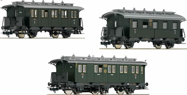 Fleischmann 481804 - German 3pc Passenger Coach Branch Line Set 1