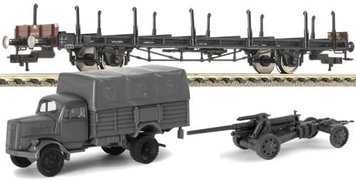 Fleischmann 523608 - Flat wagon S14, w. mini tank
