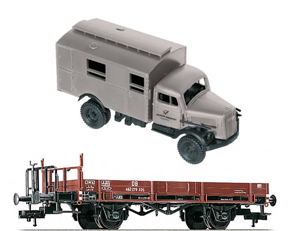 Fleischmann 525301 - German low sided Gondola w. Reichspost Truck of the DRG