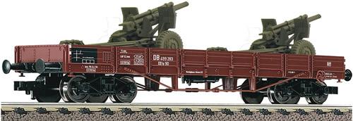 Fleischmann 526204 - German 4-axle Low side w. 2 Howitzer Guns