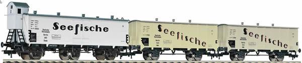 Fleischmann 538101 - 3pc Goods Wagon Set Seefische