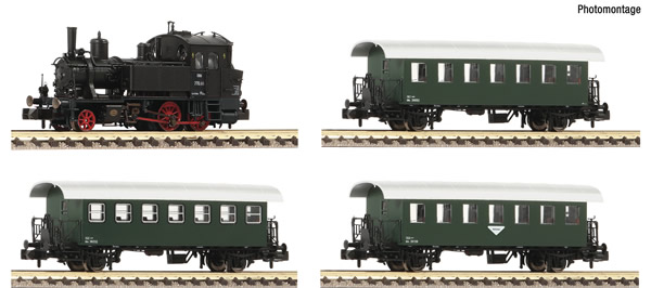 Fleischmann 707006 - 4 piece set: Steam locomotive Rh 770 with passenger train ÖBB