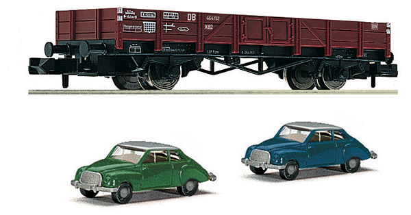 Fleischmann 820001 - Gondola car type X 90 with 2 car models DKW