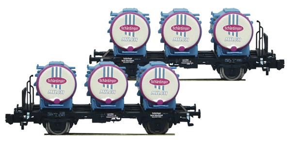 """Fleischmann 823305 - 2 piece set container carrier wagons """"Schärdinger Milch"""" ÖBB"""
