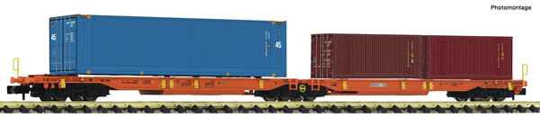 Fleischmann 825013 - Articulated double pocket wagon + Container