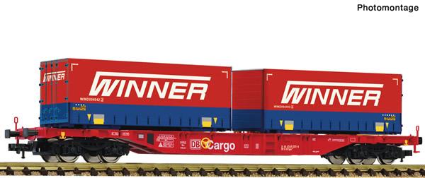 Fleischmann 825037 - Container carrier wagon + Winner Display 825030 #7