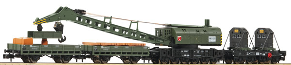 Fleischmann 859902 - 4 piece set crane train with steam crane wagon DB