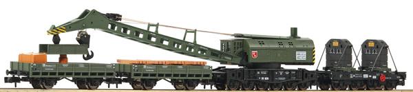 Fleischmann 859902 - 4 piece set crane train with steam crane wagon DB