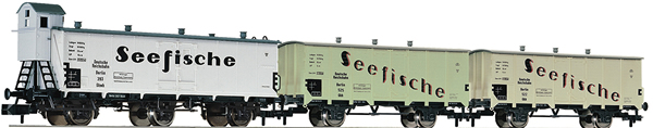 Fleischmann 881810 - 3 piece set goods wagons Seefische, DRG